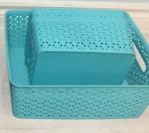 Set of 3 Tiffany Blue plastic storage containers