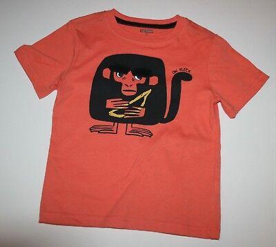 New Gymboree Boys Graphic Tee Orange with Monkey Ape with Banana 4T Short Sleeve](Monkey Boy Graphics)