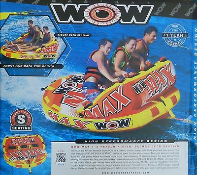 NEW 1, 2,3 PERSON INFLATABLE WOW MAX 2 WAY TOWABLE WATER SKI RAFT FLOAT TOW TUBE