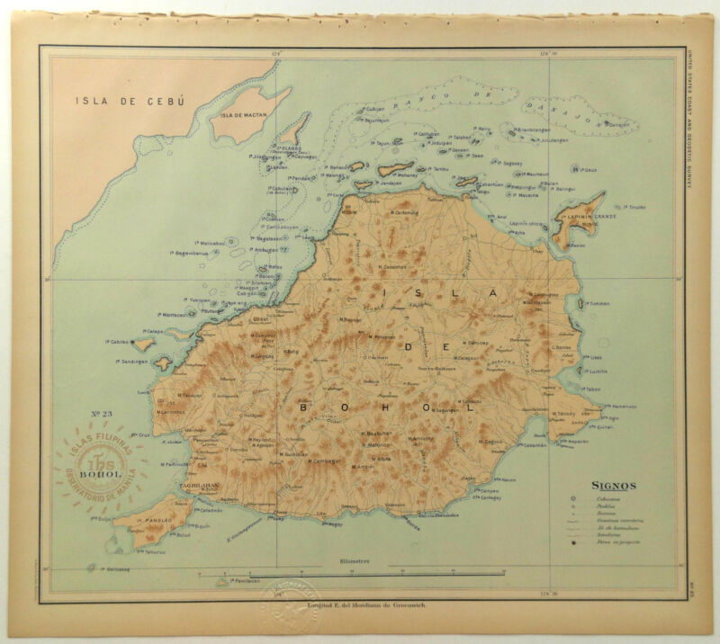 1899 Official US Navy Map Philippine Islands Isla De Bohol Panglao Lapinin Grand