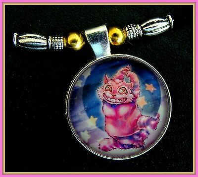 "Moon and Stars"" CAT KITTEN KITTY PENDANT NECKLACE Jewelry- Colorful Cat Cabochon"