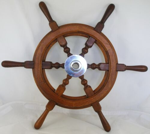 "Antique salvaged Helm Wheel  Ship wheel   21"" Mahogany"