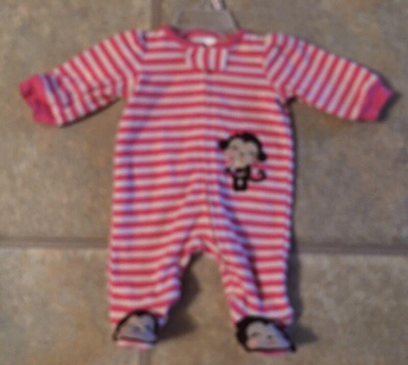 Little Wonders Girl's Size NB Pink & White Striped Fleece Sleeper With Monkey