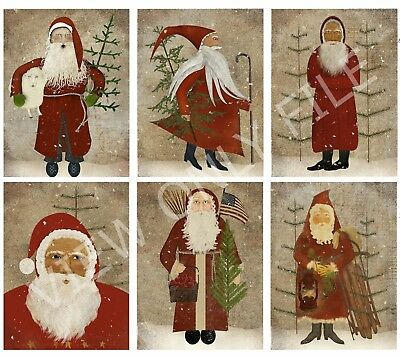 6 Christmas Primitive Santa Hang Tags Journal Cards Scrapbooking (25)