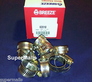 BREEZE HOSE CLAMPS STAINLESS STEEL BAND #10 FITS 5/8