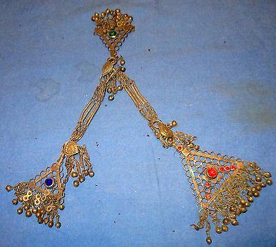 "Pendant Ornament Gemstone Afghan Kuchi Tribal Alpaca Silver 12"""