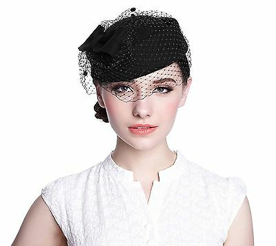 Pillbox Hat Aniwon Wedding Hat with Veil Vintage Bow Fascinator Hats for Women