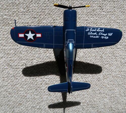LT FRED LOSCH SIGNED VMF-214 F4U MAHOGANY 1/48 USMC PAPPY BOYINGTON 86