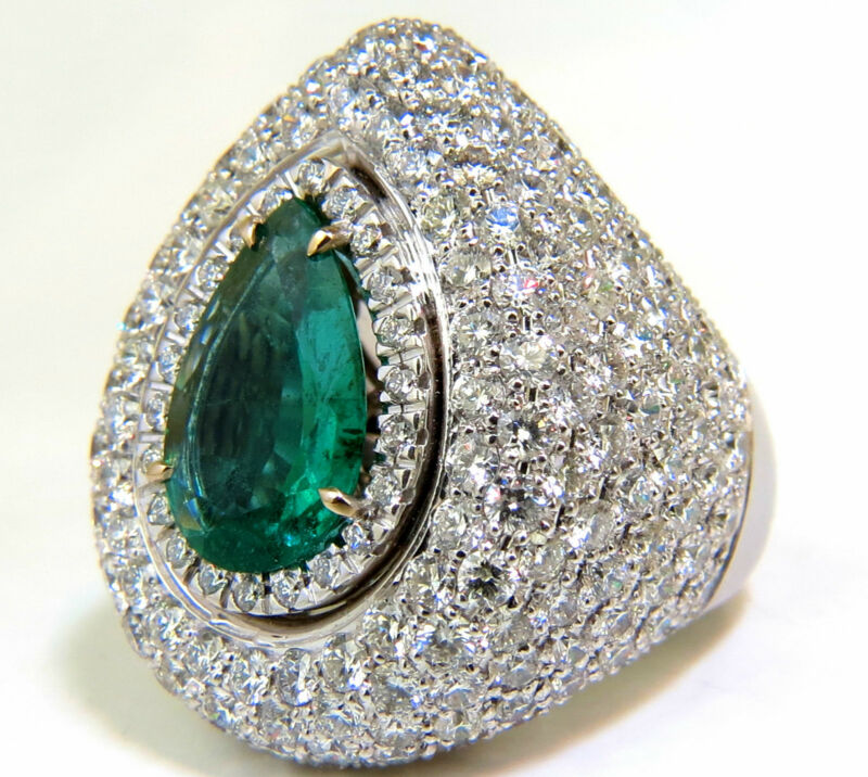 █$45,000 17.60ct 18k Natural Fine Green Emerald Diamond 3d Puffed Dome Deco Ring