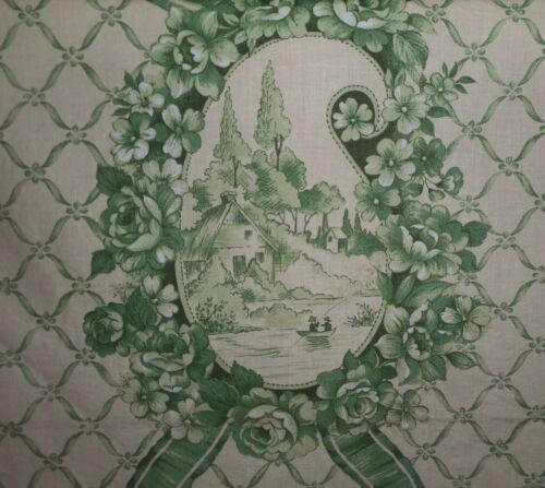 Vintage French Roses Paisley Cottage Camp Floral Cartouche Cotton Fabric ~ Green