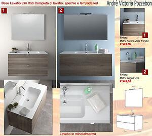 mobile arredo bagno lavabo mineralmarmo specchio lampada led legno ... - Miele Arredo Bagno