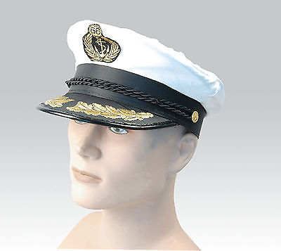 NEU weiß Erwachsene Yacht Boot Kapitän Hut marineblau Kappe Matrose Satin Kostüm (Erwachsene Blau Yacht Hut)