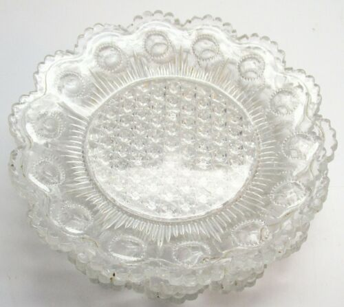 "4 Lacey Glass 5 & 1/4"" Plates, Heavy Old Sandwich? Glass"