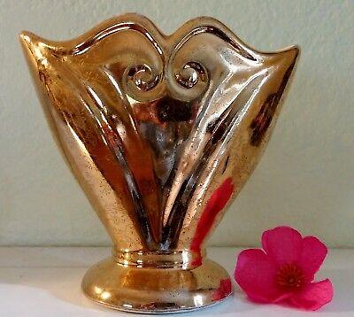 1930's Pioneer Pottery Art Deco 22-Karat Gold Gilded Vase #159; EXCELLENT COND.