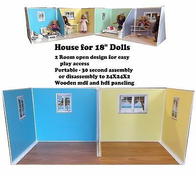 "Dollhouse fits 18"" American Girl Doll House Furniture. Beach Cottage Room"