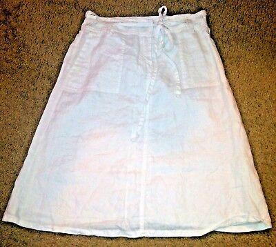 Women's SAINT TROPEZ WEST Skirt White Linen Fully Lined Cruise Beach Light Sz 4 Tropez 4 Light