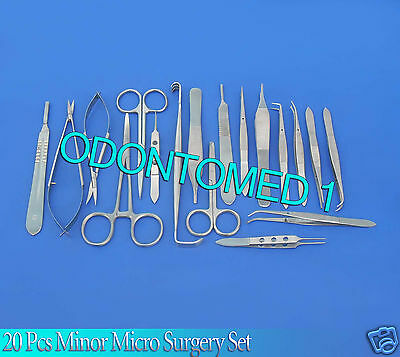 20 Pc Basic Eye Minor Micro Surgery Ophthalmic Delicate Forceps Instruments Kit
