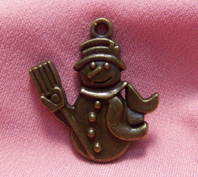 BRONZE SNOWMAN-HOLIDAY-CHRISTMAS-FROSTY CHARMS-50 PCS-DROPS-JEWELRY MAKING