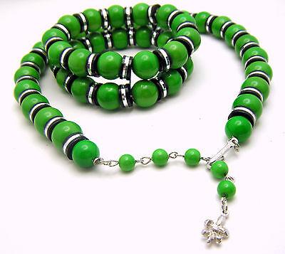 Gorgeous Green Vintage VENDOME Necklace & Bracelet Silver Tone Black Accent on Lookza