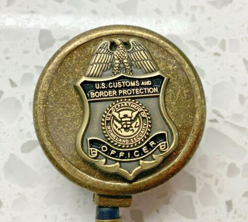 CBP Officer ID Holder with Antique Bronze Metal Case Retractable Reel ON SALE