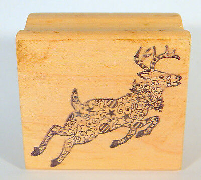 """CHRISTMAS REINDEER with Patterned Fur Rubber Stamp 2"""" x 1-3/4"""" by Mageta"""