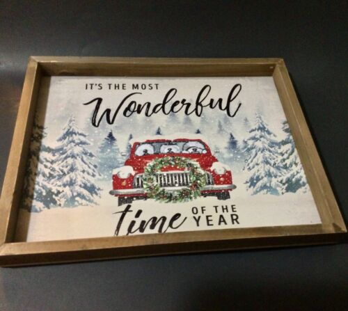 """Old English sheepdog hand painted Christmas sign """" wonderful time of the year"""""""
