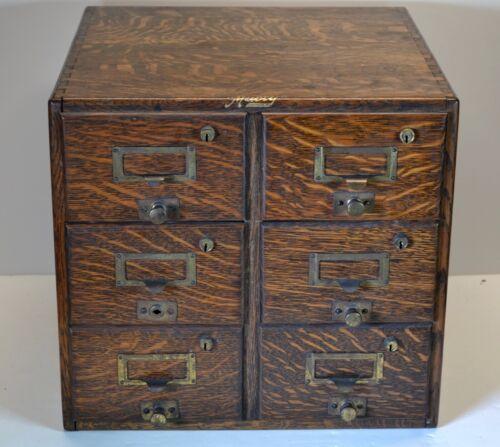Antique Macey Wernicke 6 drawer card catalog oak file cabinet