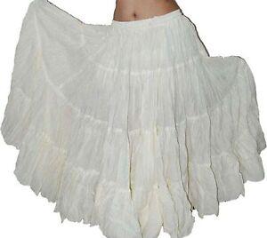 White 25 Yard Long Gypsy Tribal Skirt cotton snag easily High Quality Fabric
