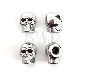 Gothic-Chrome-Skull-Dust-Caps-Tyre-Valve-Covers-Protectors-VW-T1-T2-Bike-Screw