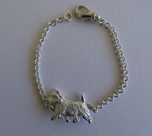 Small Sterling Silver Cairn Terrier Moving Study Bracelet
