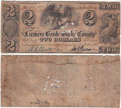 1841  2 Farmers Bank Of Bucks County Bristol Pa H39 5 Very Good Cut Cancelled