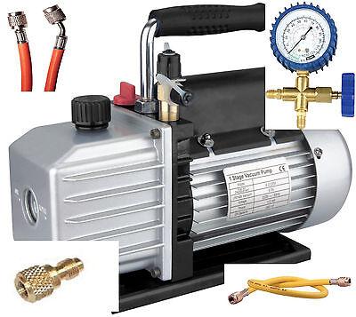 Klima - Set, TÜV Vakuumpumpe + Monteurhilfe + Schläuche 50lt., R410a R407c R134a