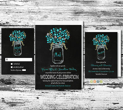 100 Personalized Rustic Floral Mason Jar Wedding Invitation Set with Envelopes