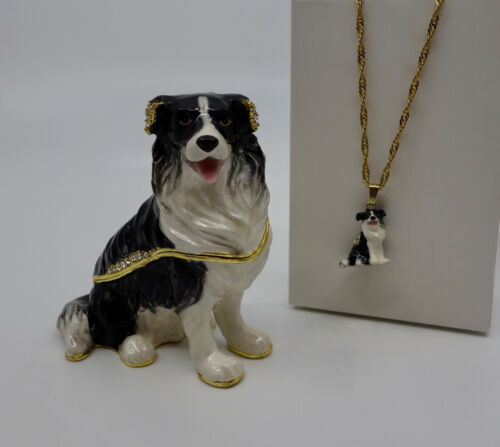* WOW! BORDER COLLIE BEJEWELED TRINKET BOX WITH MATCHING NECKLACE *