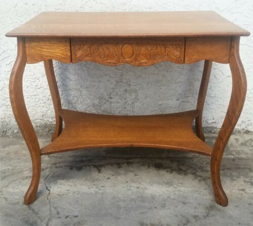 Antique Vintage American Tiger Oak Console Library Table Desk LA Area