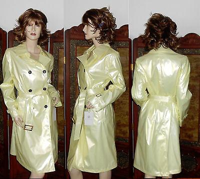 NWT M shiny pearl yellow PVC vinyl raincoat trench coat rain jacket slicker NEW