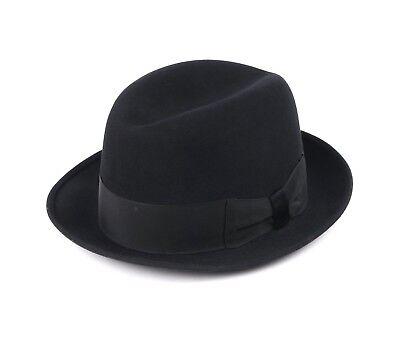 Vtg LION HATS c.1950s - 1960s Black Beaver Fur Felt Homburg Fedora Hat