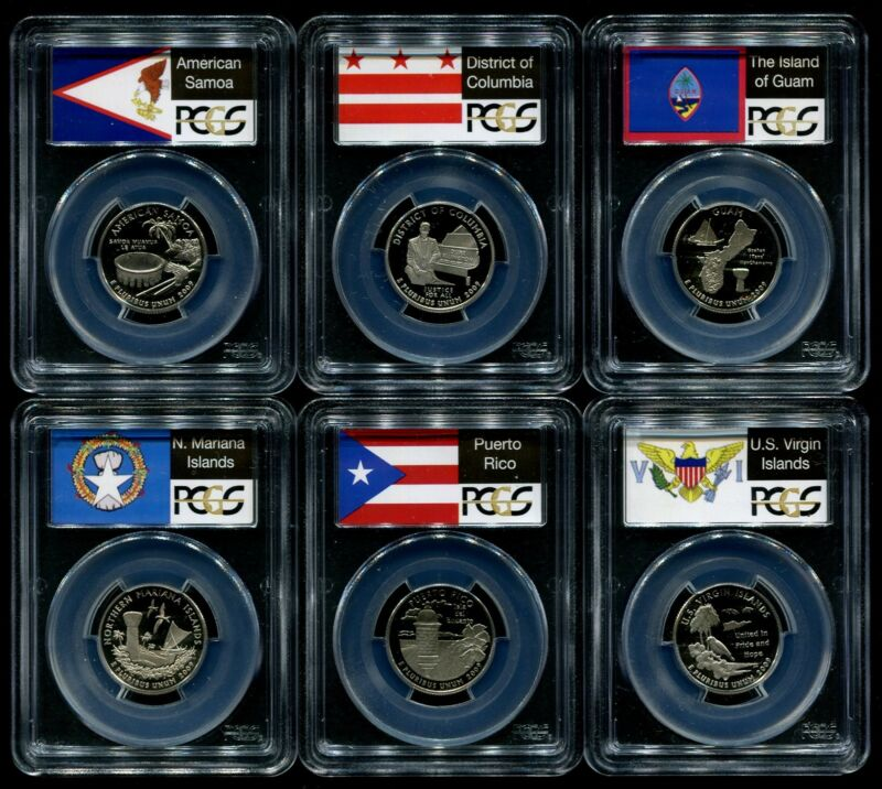 2009 S Clad Quarter 6 Coin Proof Set PCGS PR70 DCAM 25C DC & US Territories