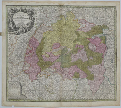 1745 Genuine Antique map Germany, Circulus Suevicus, Wirtenbergensis. M. Seutter