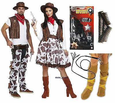 Cowboy Cowgirl Adult Fancy Dress Western Costume Gun Bullet Belt Bull Whip - Cowgirl Boots Costume