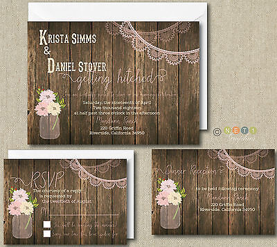 100 Personalized Rustic Lace Wedding Invitation Set with Envelopes