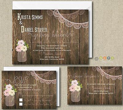 100 Personalized Rustic Lace Wedding Invitation Set ...