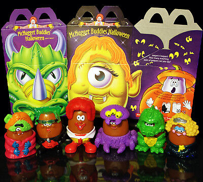 McDonalds McNugget Buddies Vtg Halloween Happy Meal Complete Set of Boxes & Toys](Mcdonalds Happy Meal Halloween Toys)