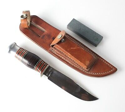 Abercrombie & Fitch Wade & Butcher Hunting Knife w/ leather sheath honing stone