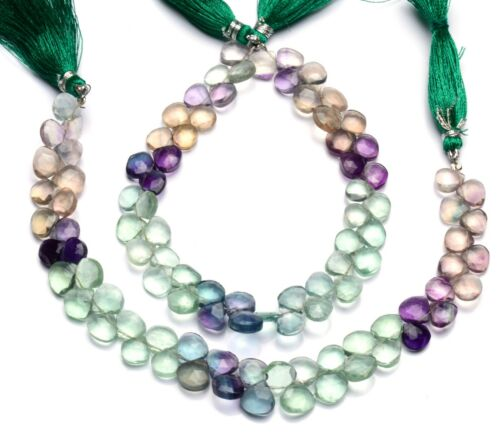 Natural Gem Multi-color Fluorite Faceted 8MM Heart Shape Briolette Beads 8 Inch
