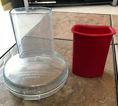 KITCHENAID EMPIRE RED FOOD PROCESSOR REPLACEMENT CHUTE LID & PUSHER KFP350ER