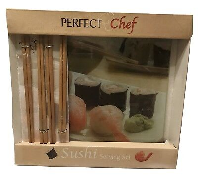 Perfect Chef Sushi Square Glass Serving Platter Cutting Board Heat -