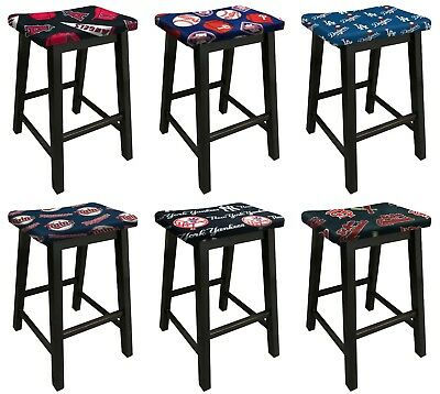 Logo Fabric Bar Stool - WOOD BAR STOOL BLACK FINISH WITH MLB TEAM LOGO FABRIC 24
