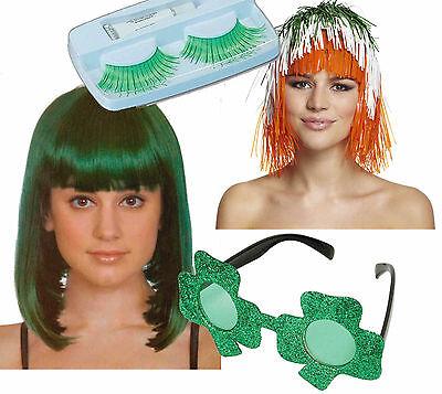 Irish St Patricks Day Ladies Fancy Dress Wig Green Eyelashes Shamrock - St Patricks Fancy Dress Kostüm