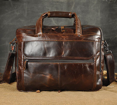 "Men's Genuine Leather Attache Briefcase 15.6"" Laptop Messenger Shoulder Bags"